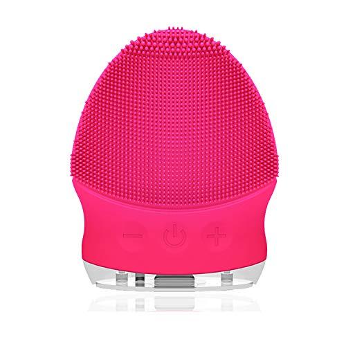 Silikon Gesichtsreinigungsbürste Elektrisch - 6mm Borsten, YUNCHI Y6 Gesichtsbürste mit gebogener Oberfläche, Wasserdichter Wiederaufladbare Sonic Vibration Gesichtsbürste (Red)