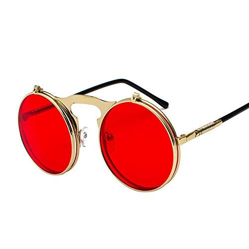 Sonnenbrille Retro Runde Metall Punk Steam Übergroße Sonnenbrille Männer Brillen Brille Vintage Brille Steampunk Frauen Sonnenbrille-Rot