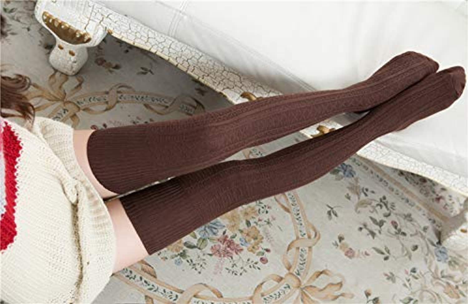 Leg Warmers Spring and Autumn Long Twist Stockings Retro Student Thigh Thick Needle Cotton Over The Knee (color   Coffee) Ankle Warmers for Women