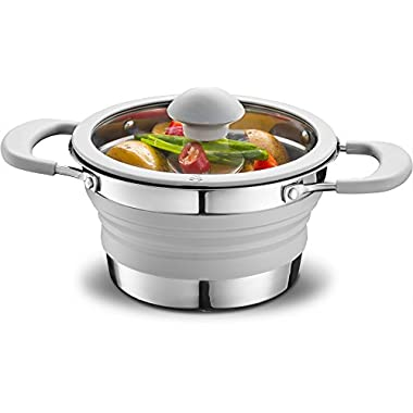 Gourmia GCP9935 1qt Collapsible Pot – Stainless Steel, Silicone and Glass Lid – For Gas and Electric Stove Cooking – Great for Outdoors, Hiking, Camping, Traveling - BPA Free