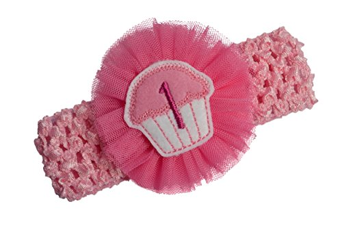 Happy 1st Birthday Monogrammed Cupcake and Tulle Flower Crochet Pink Headband by Funny Girl Designs