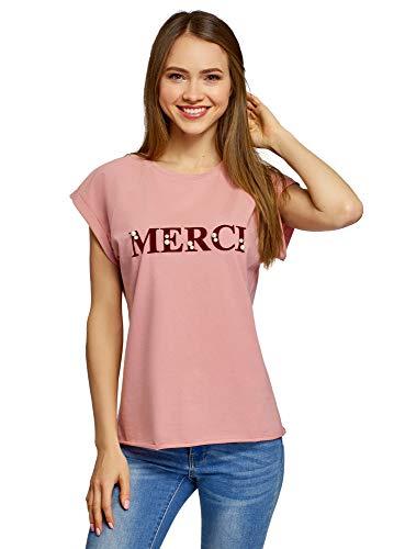 oodji Ultra Mujer Camiseta de Algodón con Inscripción y Perlas Artificiales, Rosa, ES 36 / XS