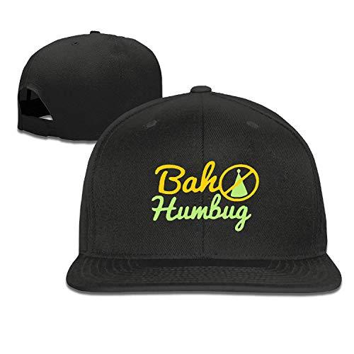 NA Snapback Caps for Men,Bah Humbug Black Cap Adjustable Mens Plain Flat Peak