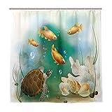 JOOCAR Cortina de ducha de diseño, diseño de animales de acuario artísticos, tela impermeable para decoración de baño con ganchos