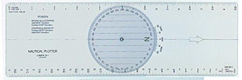 LINEX 100413018 Parallellineal 30 cm mit Winkelmesser mit nautischer Teilung zur Navigation