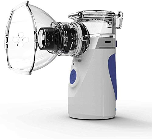 Tragbarer, atmungsaktiver Lungenentlastungsvernebler, Netzverdampfer mit Masken und Mundstücken USB/batteriebetriebener Vernebler für Kinder und Erwachsene (Blue)