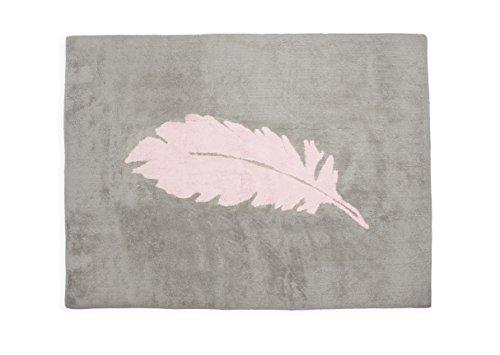 Aratextile. Tapis pour enfant 100 % coton lavable en machine collection Pluma gris_rose 120 x 160 cm