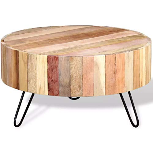 binzhoueushopping Table Basse en Bois de récupération Massif Support de Plantes ou Support de téléphone Dimensions 70 x 38 cm (Diamètre x H) Table Basse Design