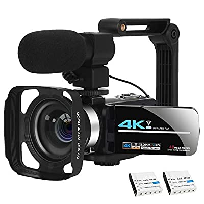 Video Camera Camcorder Vlogging Camera 4K Ultra HD Zoom Live Streaming Webcam Recorder YouTube Camera Video Recorder Handheld Stabilizer Remote Control, 16X Digital Zoom, 2 Batteries from KOMERY