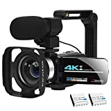Video Camera Camcorder Vlogging Camera 4K Ultra HD Zoom Live Streaming Webcam Recorder YouTube Camera Video Recorder Handheld Stabilizer Remote Control, 16X Digital Zoom, 2 Batteries