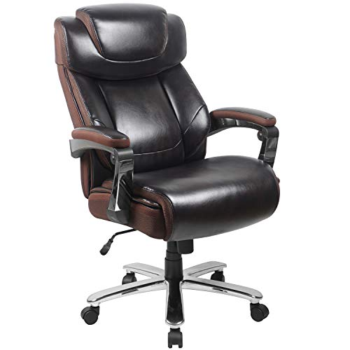 Flash Furniture Big & Tall Office Chair | Brown LeatherSoft Executive Swivel Office Chair with Headrest and Wheels brown chair gaming