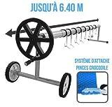 Linxor France  Enrouleur de bâche à Bulles Extensible de 1m à 6.40m + Pinces - Norme CE