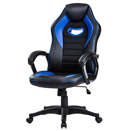 LIANFENG Racing Style High Back Leather Gaming Office Chair, Ergonomic Swivel Computer Desk Chair with Headrest and Armrest for Home and Office, Blue blue chair gaming