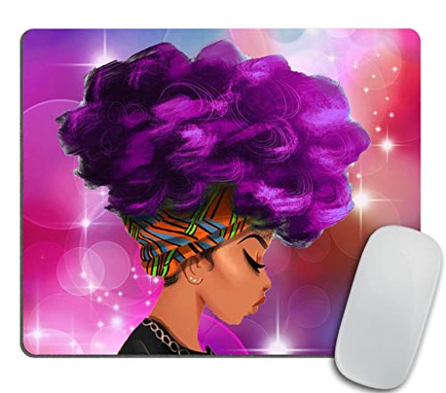 Gaming Mouse Pad Custom Design,African Women with Purple Hair Hairstyle Mouse pad 9.5 X 7.9 Inch (240mmX200mmX3mm)