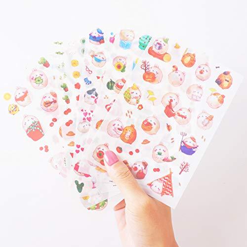 Haiker Cute 'Molang Rabbit' Bunny Rabbit Charactor Sticker Diary Scrap Book Scrapbooking Decor Decoration 6 Sheets Lot Korean Stationery, Version 4th