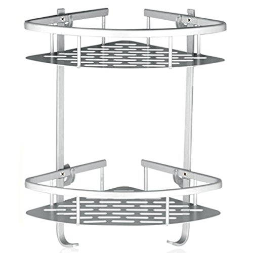 Lancher Bathroom Shelf (No Drilling) Durable Aluminum 2 Tiers Shower Shelf Kitchen Storage Basket Adhesive Suction Corner Shelves Shower Caddy