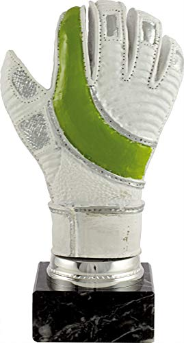Art-Trophies TP419 Trofeo Guante de Portero, Blanco Verde, 25 cm