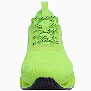 Walking Shoes Men Blade Flame Pattern Multi-Color Volleyball Tennis Running Sneakers Fluorescent Green Size 10