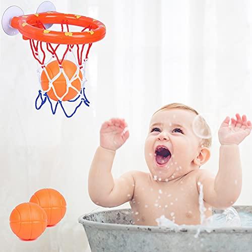 Juguete de baño para bebé, juguete para la bañera, juguete de agua, juguete para bañera, cesta de baloncesto, cesta de baloncesto, cesta de baloncesto y pelota para niños y niñas (1 cesta + 3 pelotas)