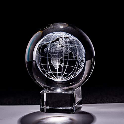 Bola 6 cm láser grabado tierra miniatura cristalina bola vidrio globo esfera vidrio papel peso artesanía ornamento decoración del hogar estatuilla Creativa ( Color : With crystal base , Size : 60mm )