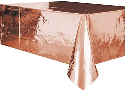 Unique Party - Mantel de Plástico - 2,74 m x 1,37 m - Color Oro Rosa (53273)
