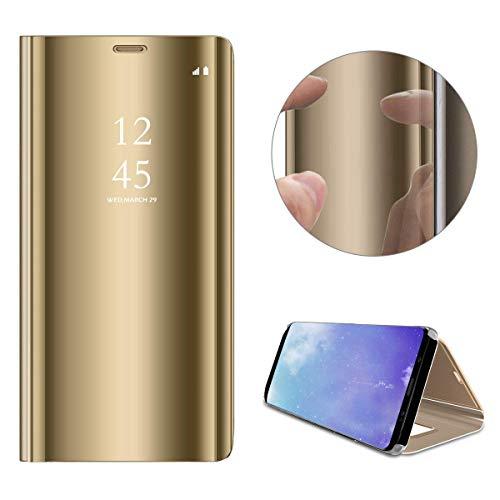 Preisvergleich Produktbild Artfeel Spiegel Hülle für Xiaomi Mi A1, Xiaomi Mi 5X Handyhülle Leder Golden Schutzhülle,  Mode Slim Hart Flip Stoßfest Schale mit Standfunktion Make Up Spiegel klar Abdeckung