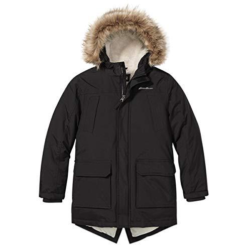 Eddie Bauer Boys Parka Coat - Down Winter Coat, Fur Hood | Black, Medium