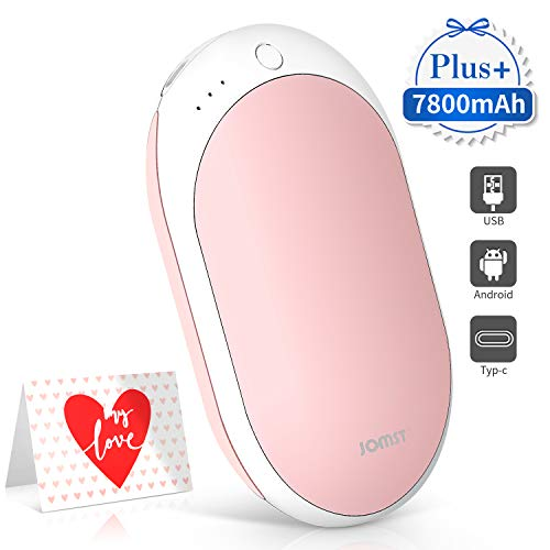 Jomst New 7800mAh Rechargeable Hand Warmers Portable Electric Power Bank,Larger Capacity Hand Warmer and Double-Sided Heating, (Pink)