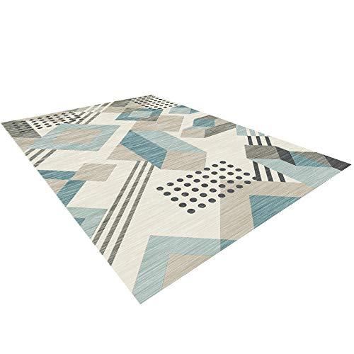 HXJHWB Teppich Flachgewebe Design - Schlafzimmer Bett einfache geometrische 3D-gedruckte Teppich mehrfarbigen Farbverlauf kurzen Samt rutschfest-160CMx200CM