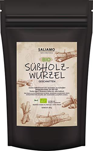 250g BIO Süßholzwurzel Tee, Süßholz, Süßholz-Wurzel getrocknet geschnitten, Ohne Zusatz von Geschmacksverstärkern, Konservierungsstoffen und künstlichen Aromen,   Saliamo