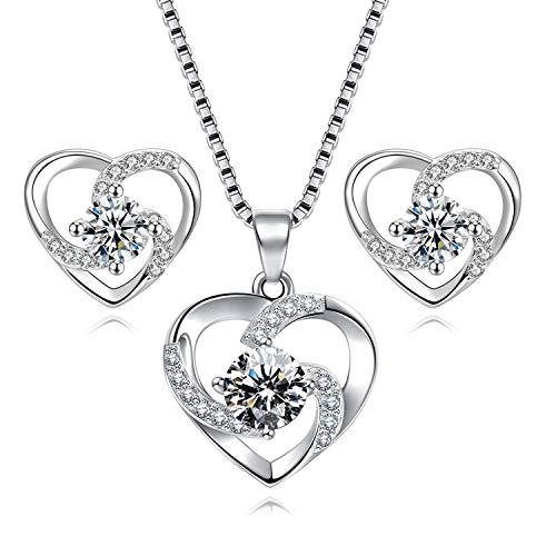 Damen Herz Schmuckset aus 925 Sterling Silber Herz Kette und Ohrringe Set mit Weiß Zirkonia Stein bestehend aus Herz Anhänger, Ohrstecker und 45 cm Damen Halskette…