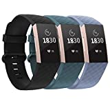 adepoy Compatible with Fitbit Charge 3 Bands/Fitbit Charge 4 Bands for Women Men, Adjustable Replacement Wristbands for Fitbit Charge 3 SE and Fitbit Charge 4, 3 Pack, Black, Slate, BlueGray, Large