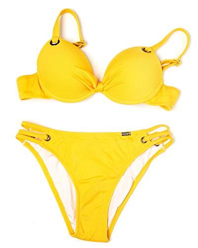 Marine Bikini-Set mit Cup in Canalé, Badeanzug mit Cup für Damen, sexy, Gelb 34