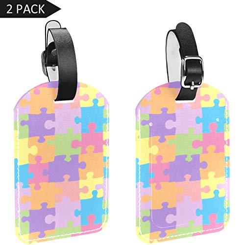 LORVIES Kleurrijke Puzzel Bagage Tags Reizen Labels Tag Naam Kaarthouder voor Bagage Koffer Tas Rugzakken, 2 PCS