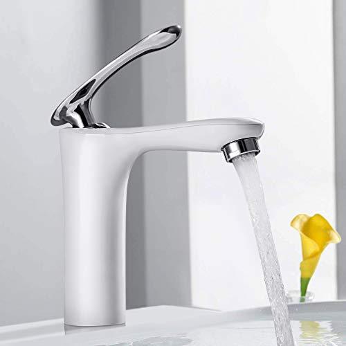 BONADE Waschbecken Wasserhahn Bad Waschtischarmatur Weiß Armatur Einhebel Mischbatterie Messing Badarmatur Elegante Einhandmischer für Badezimmer