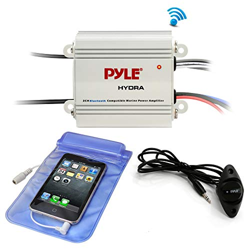 Pyle Auto 2-Channel Bridgeable Marine Amplifier - 200 Watt RMS 4 OHM Full Range Stereo with Wireless Bluetooth & Powerful Prime Speaker - High Crossover HD Music Audio Multi-Channel System-PLMRMB2CW