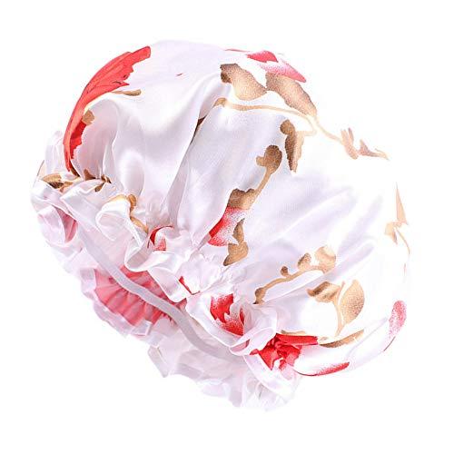 YiyiLai Bonnet de Nuit Turban Lisse Cheveux Coiffure Blanc Rouge-25cm