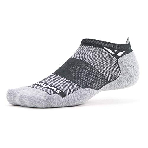 Swiftwick – MAXUS ZERO Tab Golf & Running Socks, Maximum Cushion, Mens & Womens (Gray, Large)