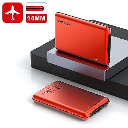 YWTESCH Batería Externa Movil 10000mAh, Power Bank Cargador Portátil Salida USB A y Entrada Type C (2A), Aleación de Aluminio, 2 Cables, Mini Powerbank(Rojo) Compatible con iOS/Androide/Tableta