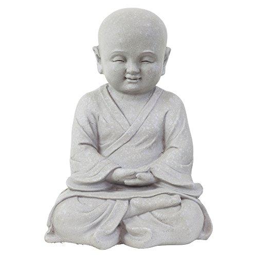 Garten Deko Figur Shaolin Mönch Buddha Meditieren Stein Effekt in Grau - 42cm Hoch