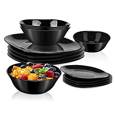 """DANMERS 12-Piece Dinnerware Set Black Dinner Sets Service for 4, 10.5"""" Dinners Plates, 7.5"""" Bread Plates and 5.5"""" Cereal Bowls Set Break and Crack Resistant (12 PCS-A Black)"""