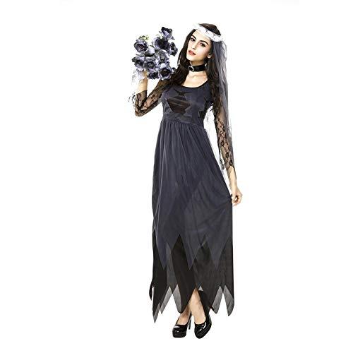 GBYAY Vestido de Novia de Gasa con Borde de Encaje Fantasma Vestido de Cosplay de Halloween para Mujer Disfraz de Fiesta navideña