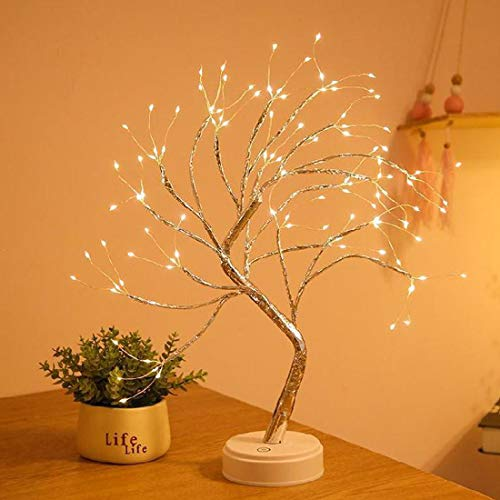 Landwalker Tabletop Bonsai Tree Light, 20' Lighted Little Birch Tree DIY Artificial Tree Lamp with Battery/USB Operated for Bedroom Desktop Home Christmas Party (108 Led Warm White 8 Functions Timer)
