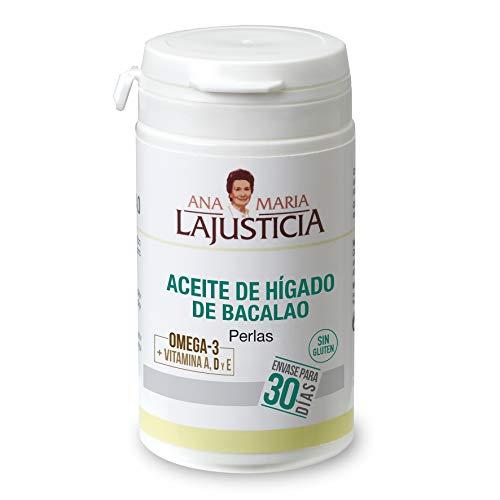 Ana Maria Lajusticia - Aceite de hígado de bacalao – 90 perlas aporte de VITAMINAS D, A y E y ácidos grasos omega 3. Envase para 30 días de tratamiento.