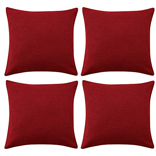 Deconovo Funda para cojin Protectora 4 Piezas 50x50cm Rojo Oscuro