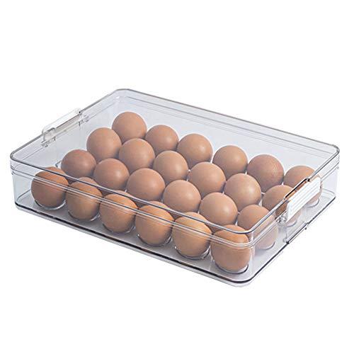Apofly Bandeja de Almacenamiento de Huevo Huevo Puede Nevera Soporte del contenedor de gaveta de 24 Hoyos con Tapa de plástico Transparente Material de Cocina