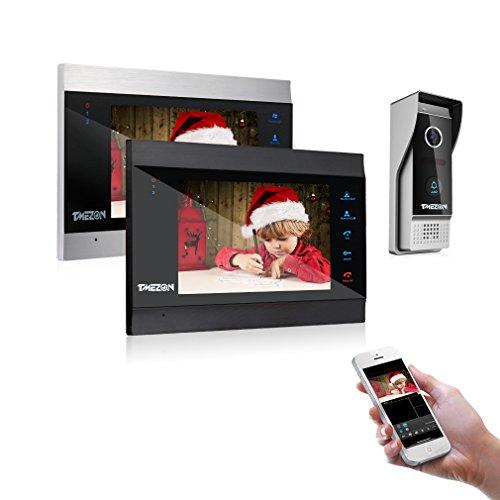 TMEZON WLAN Video Türsprechanlage Türklingel Gegensprechanlage System, 7 Zoll 1080P WLAN Monitor mit Verdrahteter Kamera im Freien(2M1C) Für 1-Familienhaus, Fernbedienung Türöffner und App