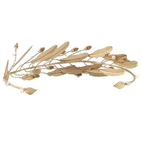JJZXD Vintage Kristall Perlen Stirnband Braut Tiara Kopfschmuck Gold Farbe Blatt Haarschmuck Hochzeit Kronen Haarschmuck