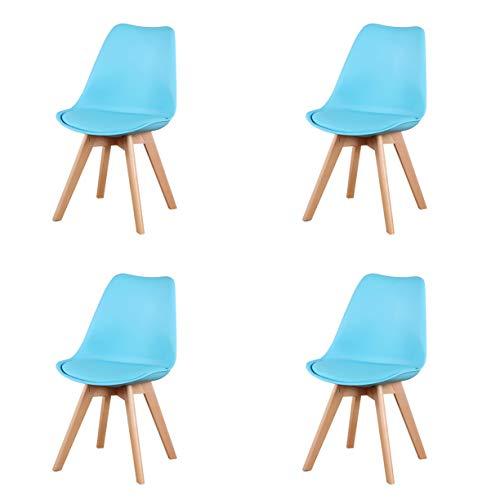 Juego de 4 sillas de comedor clásicas clásicas nórdicas de cuero con patas de madera maciza para muebles de hogar y oficina comercial (azul)