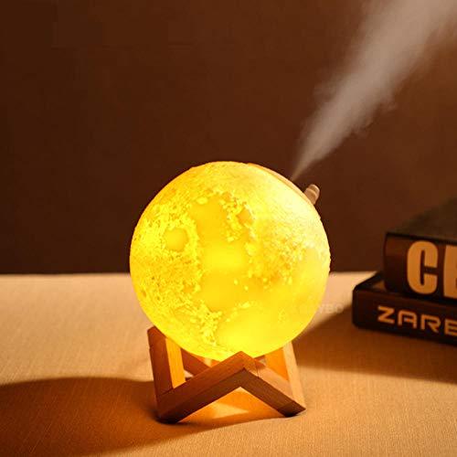 Lámpara de luna USB 3D con humidificador, difusor de niebla, recargable, táctil, para dormitorio, mesa, luz nocturna, 2 colores